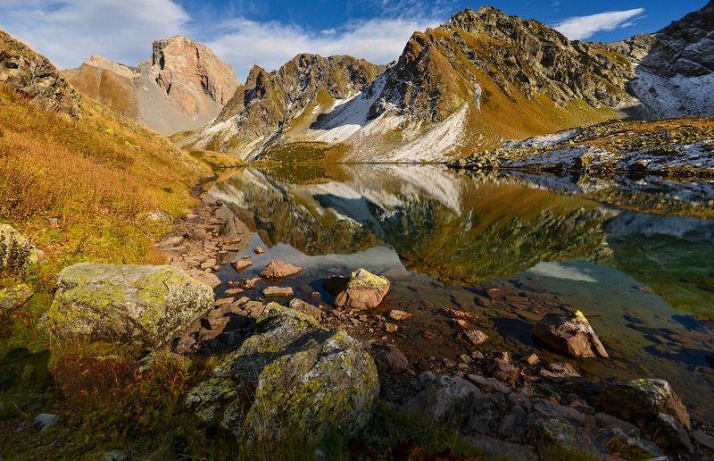 горы, озеро, осень, отражения Мир горных зеркалphoto preview