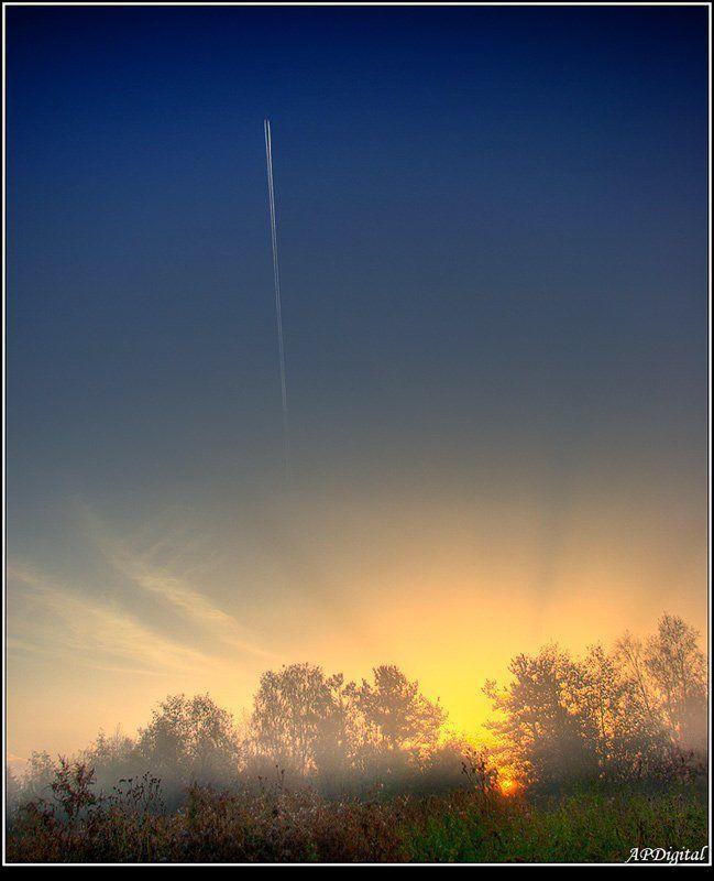 самолет восход туман Взлетаю выше солнцаphoto preview