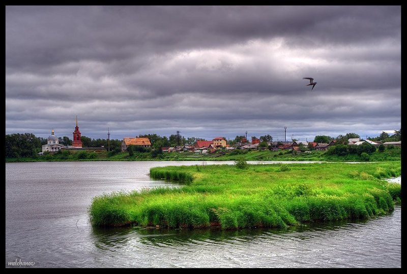 арамиль, река, остров, трава, тучи, чайка Арамильская слободаphoto preview