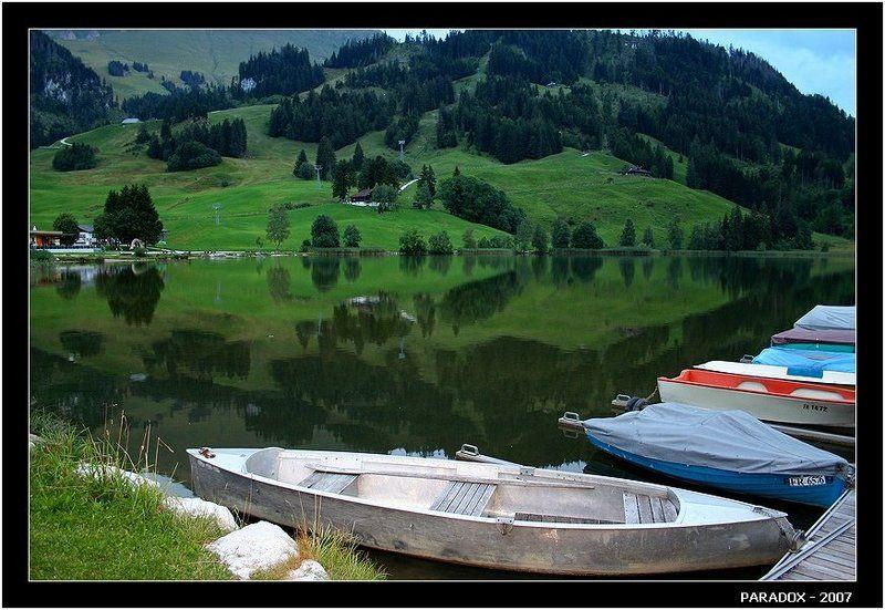 швейцария, schwarzsee, fribourg, черное озеро, отражения, paradox Глубина высотыphoto preview