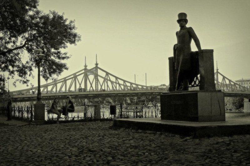 тверь, город, памятник, пушкин, сепия Тверь - малая Родинаphoto preview