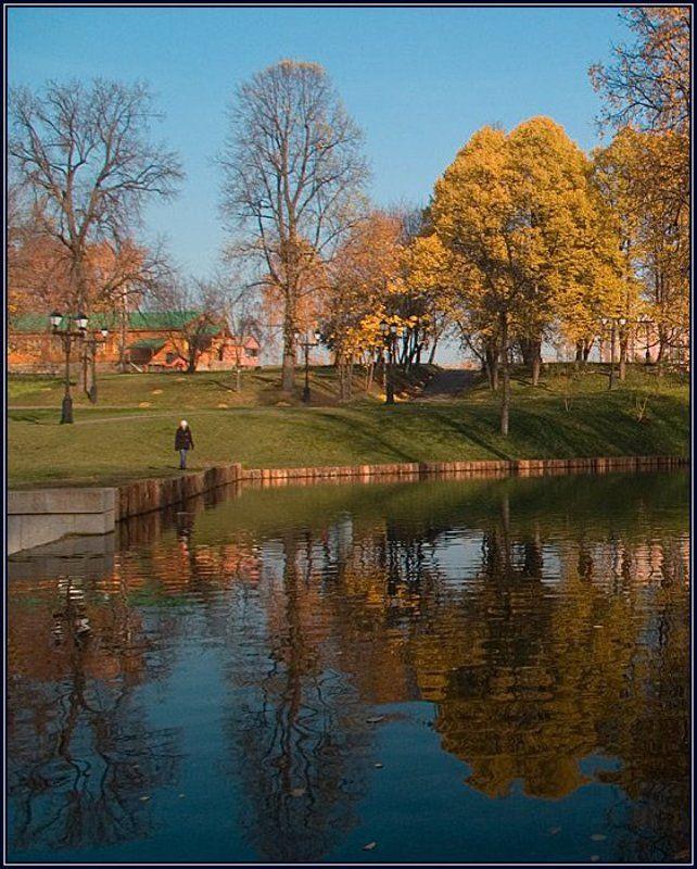 осень, царицыно, пруд, отражение, девушка Одна, совсем одна...photo preview