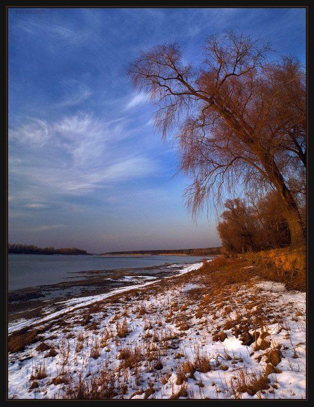 река, обь, деревья, закат, поздняя, осень Мохнатый пейзажphoto preview