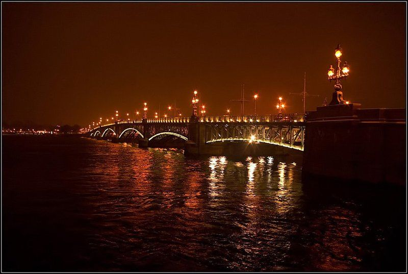 петербург, мост, нева, река, фонари, отражение, вечер Троицкий мостphoto preview