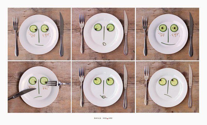 натюрморт, тарелки, огурцы, эмоции, лица соседиphoto preview