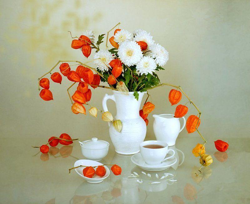 funtry, букет, ваза, композиция, натюрморт, ноябрь, осень, отражение, посуда, физалис, хризантемы, цветы, чай Туманный Альбион, или Five o\'clockphoto preview