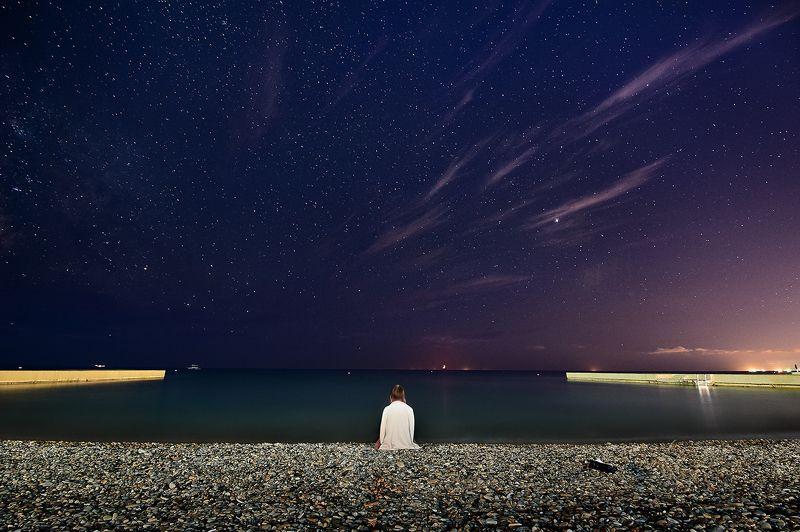 млечный путь ночь море Незнакомкаphoto preview