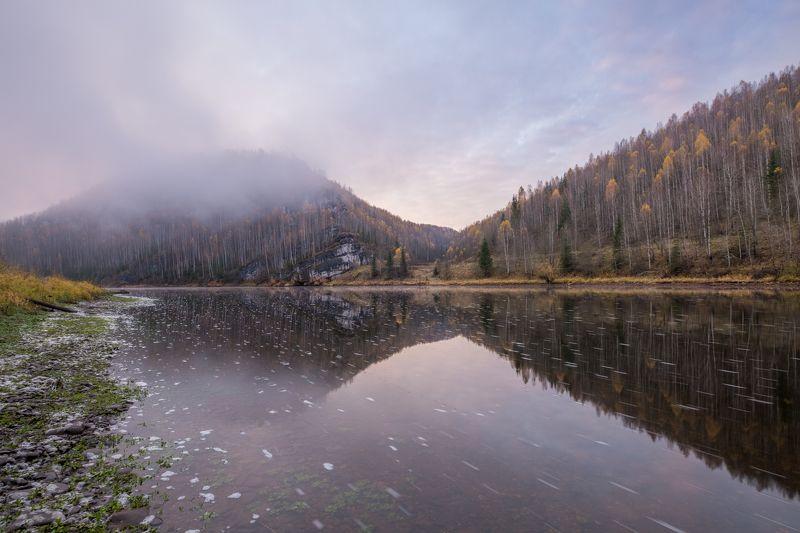 туман, осень, урал, река, рассвет, отражение Утренний туман над Косьвойphoto preview
