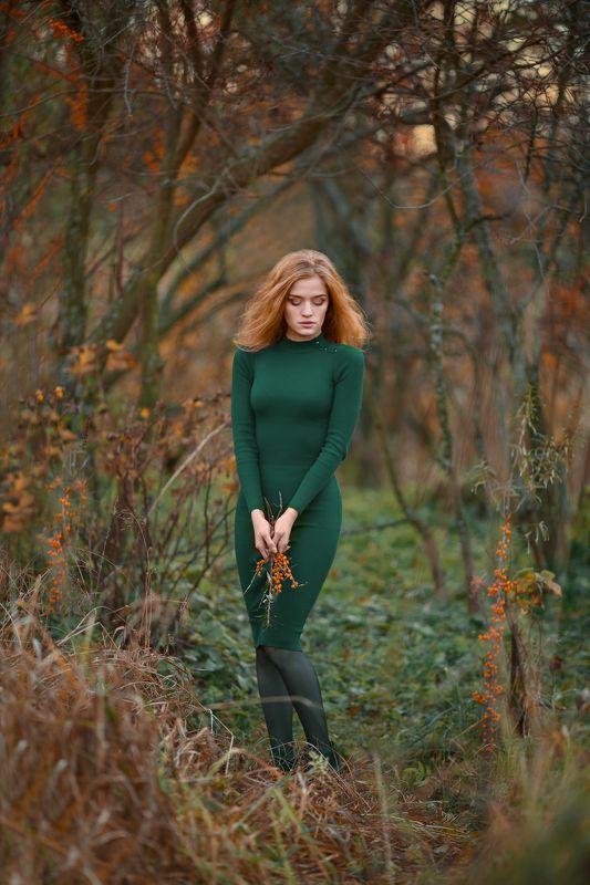 девушка, осень, облепиха, портрет, красота, рыжие волосы Облепихаphoto preview
