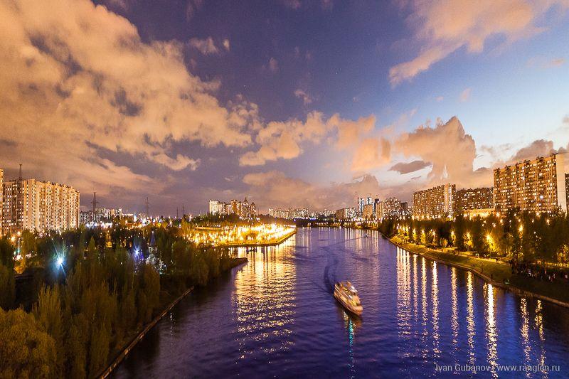река, пейзаж, москва, братеево, теплоход, вечер Москва-рекаphoto preview