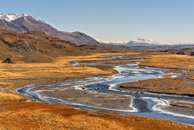 осень, река, горы, лед, алтай, autumn, river, mountains, ice, altai Осенняя Талдураphoto preview