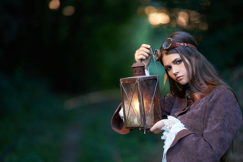 девушка, гоглы, свечи, фонарь, жд, дорога Путеобходчикphoto preview