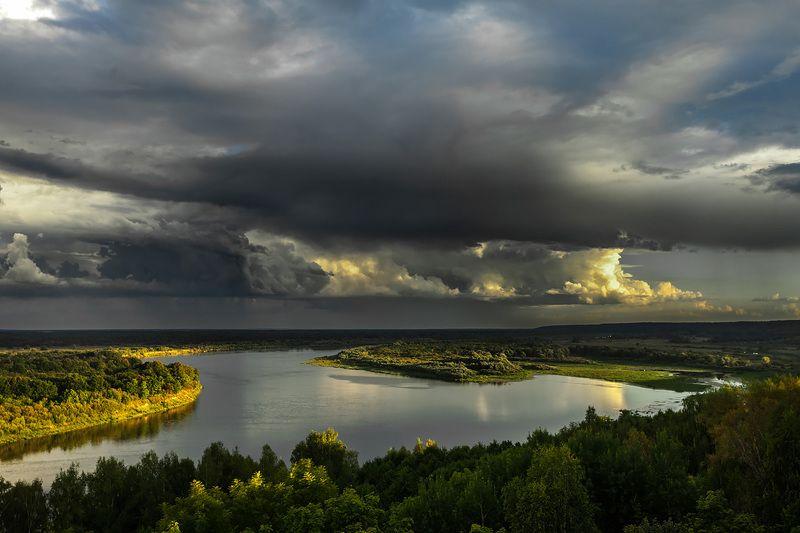 река, лес, небо, облака, закат, тучи, природа, пейзаж, nature, lsndscape, sunset, clouds photo preview