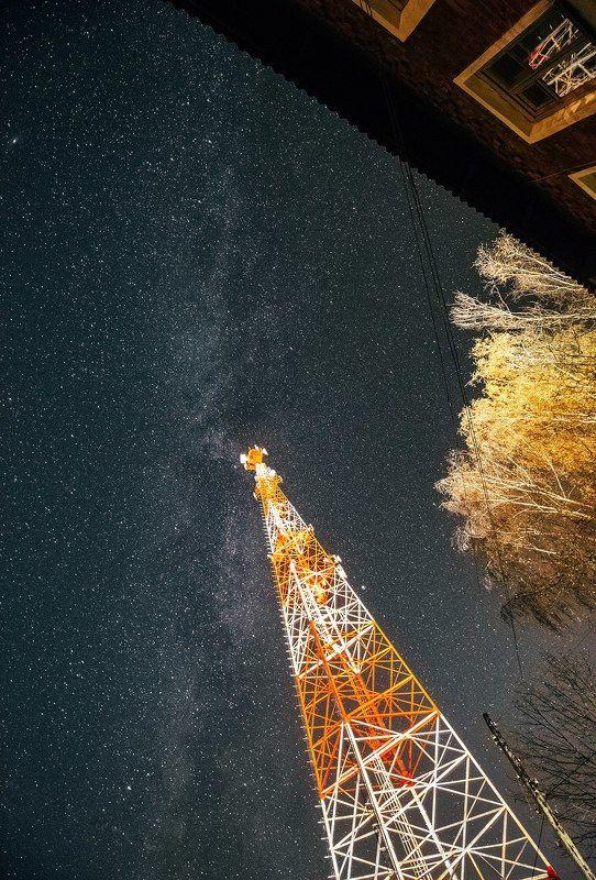 ельня, смоленская область, небо, млечный путь, звезды, ночь, осень Над крышей дома моегоphoto preview
