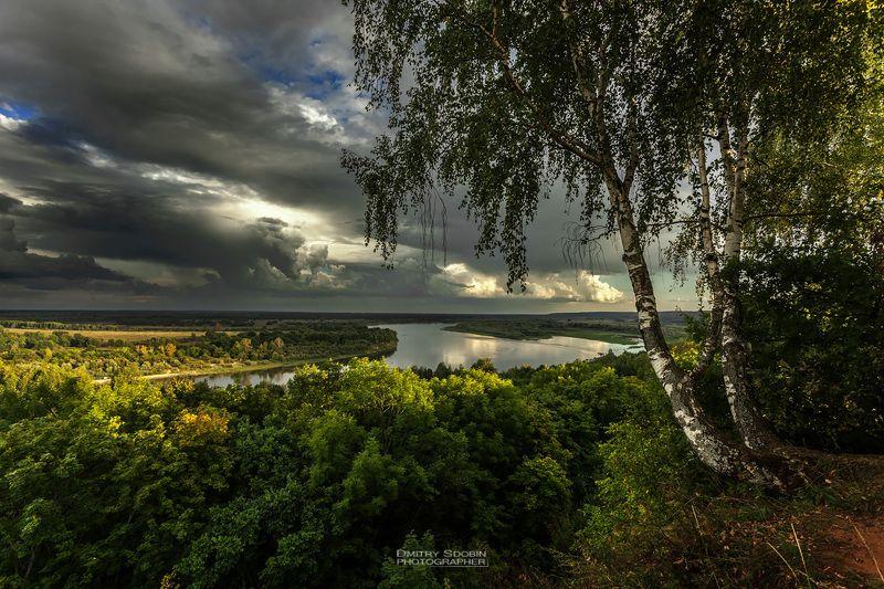 природа, пейзаж, лето, береза, река, небо, облака, landscape, nature, sky, riwer, clouds, гроза, тучи, солнце photo preview