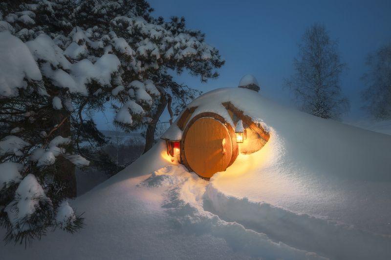 хоббитон, хоббит, властелин колец, hobbit, ночь, мороз, снег Зимний Хоббитонphoto preview