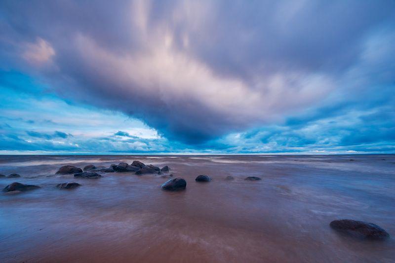 рыбинка, море, рыбинск, камни, водохранилище, небо, утро, осень Осеннее небо над Рыбинкойphoto preview