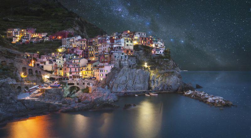 manarola, italy, cinque terre , spezia, liguria, италия, манарола Manarola nightphoto preview
