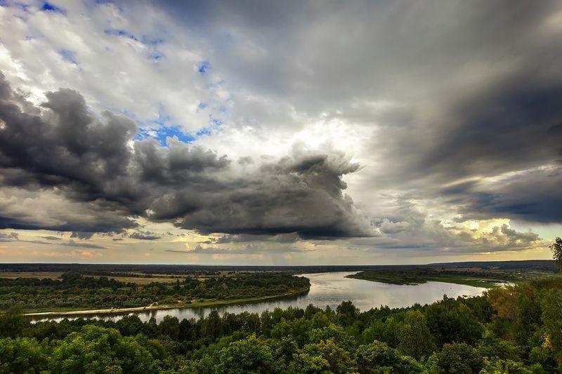 природа пейзаж, небо, река, облака, тучи, ока, лес, landscspe, nature photo preview