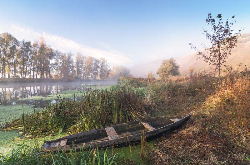 утро, туман, рассвет, лодка, пристанище, сезон, река, осень У осеннего берегаphoto preview
