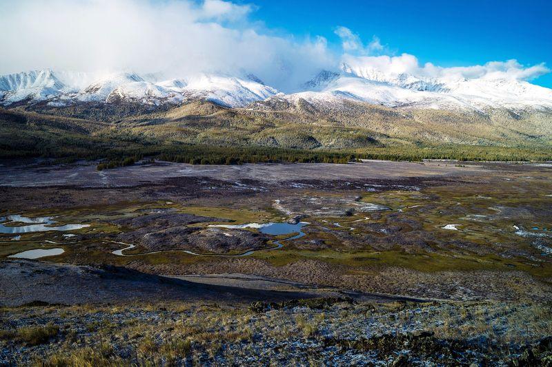 природа пейзаж алтай утро горы вершины облака ештыколь озера отражение Урочище Ештыкель...photo preview