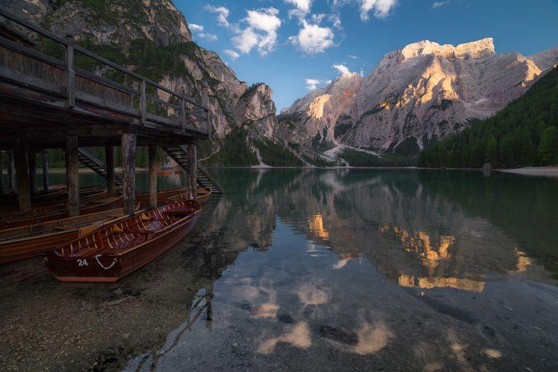 Брайес, Lago di Braies, лето, озеро, горы, Доломитовые Альпы Вечер на озереphoto preview