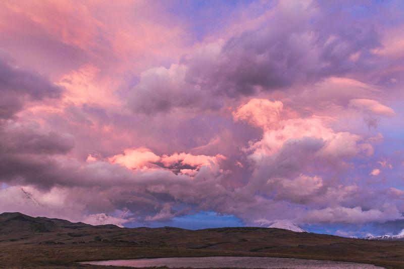 камчатка, закат, облака, вулканы, пейзаж, небо Вечер у Толбачикаphoto preview