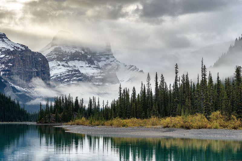 Канада, горы, озеро, утро, пейзаж, Джаспер Утро в Скалистых горахphoto preview