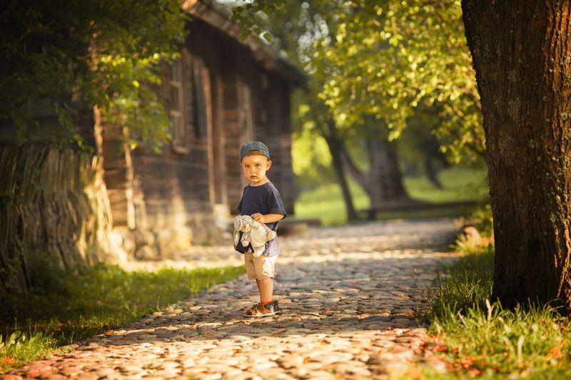 ребенок, мальчик, детская фотография, в деревне, игрушка ,портрет photo preview
