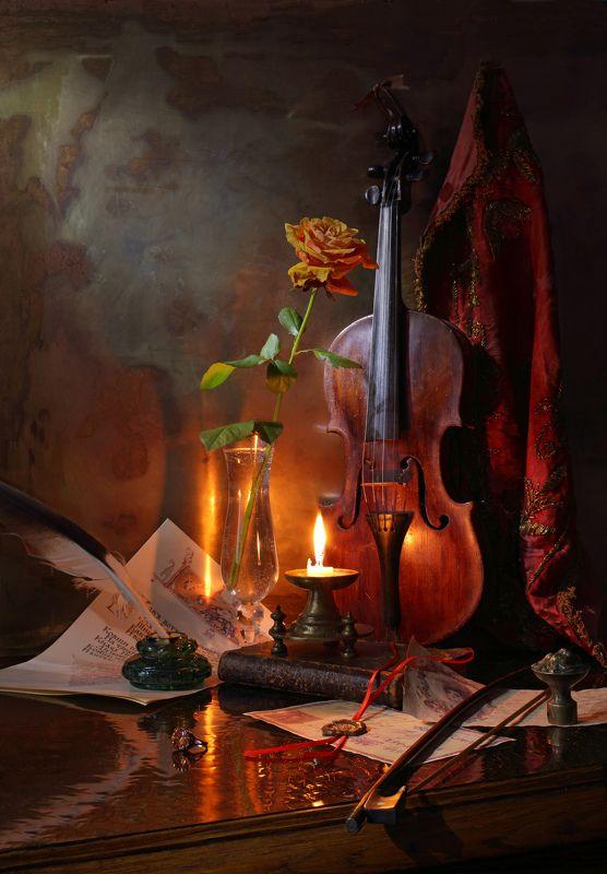 скрипка, музыка, цветы, свет, искусство, свечи, розы Натюрморт со скрипкойphoto preview