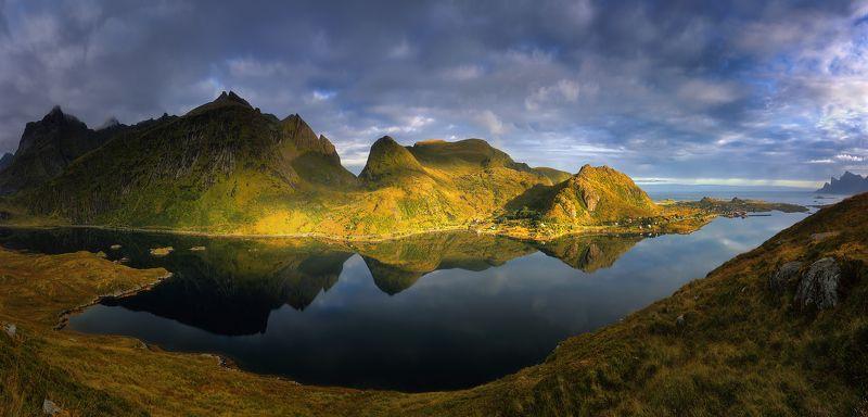 лофотены, норвегия, горы, море, фьорд, сентябрь, утро Тихим утромphoto preview