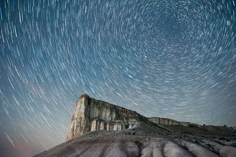 night, crimea, stars, startrails White Rockphoto preview
