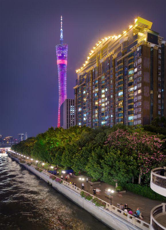 китай, гуанчжоу, город, ночь Набережная Pearl Riverphoto preview