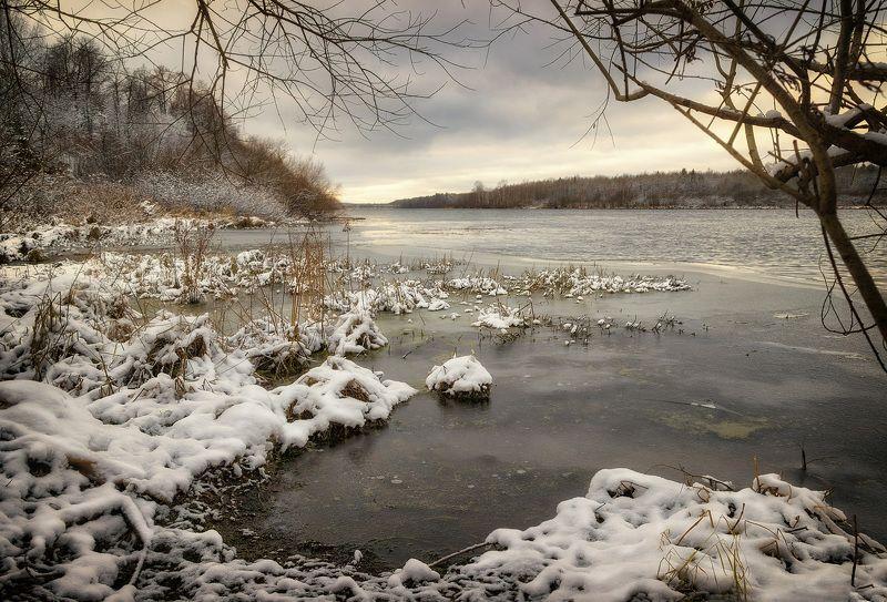 зима, снег, солнце, закат, сугробы, мороз, деревья Меланхолия предзимья 1photo preview