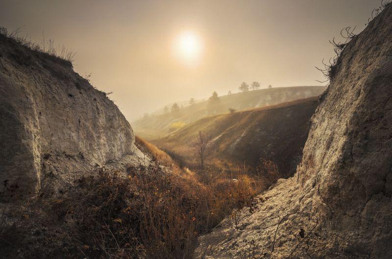 утро, туман, рассвет, мгла, кручи, мел, осень, пейзаж Когда небо мглою кроетphoto preview