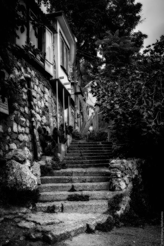 #bw #landscape #crimea Streets of Gurzufphoto preview