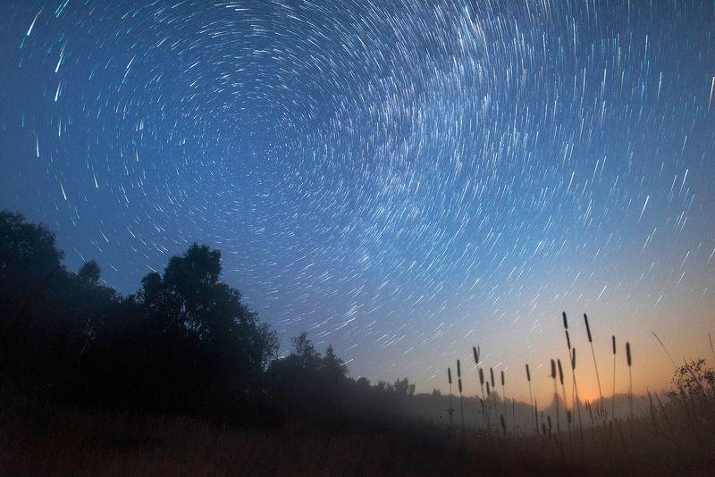 stars, startrails, mist Туманphoto preview