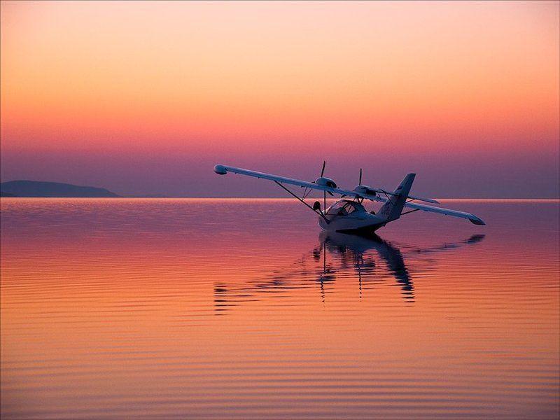пейзаж, природа, утро, самолет Самолет на розовомphoto preview