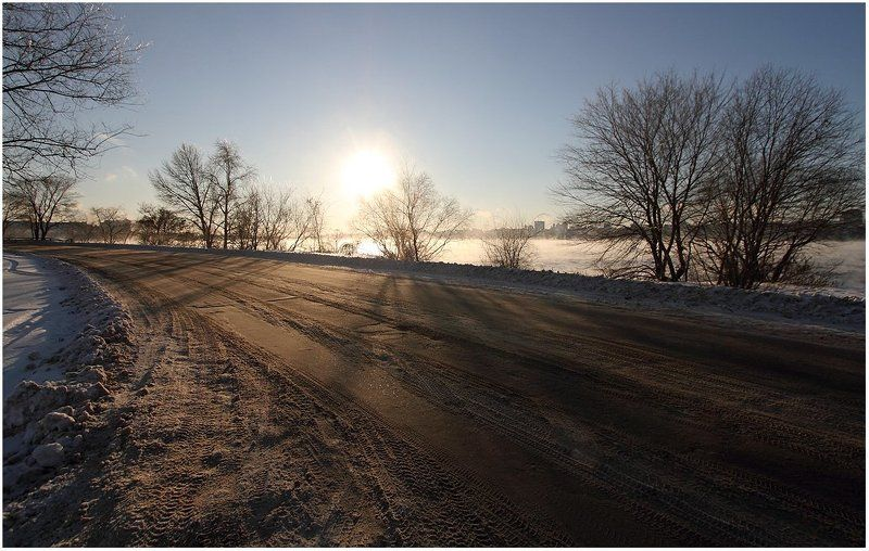 дорога, тени, пар, зима, земля, деревья Признаки зимыphoto preview