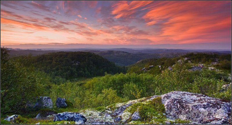 рассвет, сопки, кольский, небо Рассвет над сопкамиphoto preview