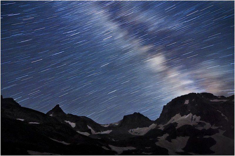 горы, звезды, млечгый путь, ночь, вращение, кавказ, перевал Ночной перевалphoto preview