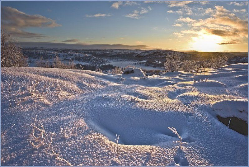 сопки, кольский, снег, солнце, лучи, ноябрь В последних лучах...photo preview