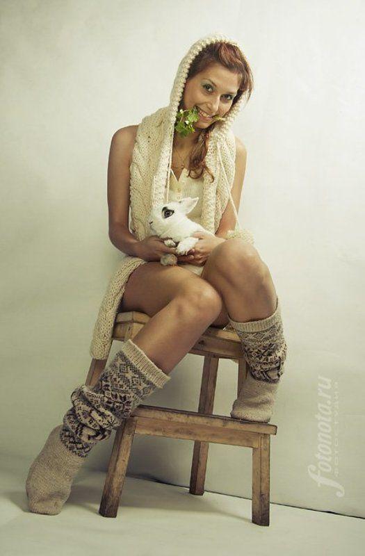 девушка, кролик, заяц, новый, год ***photo preview