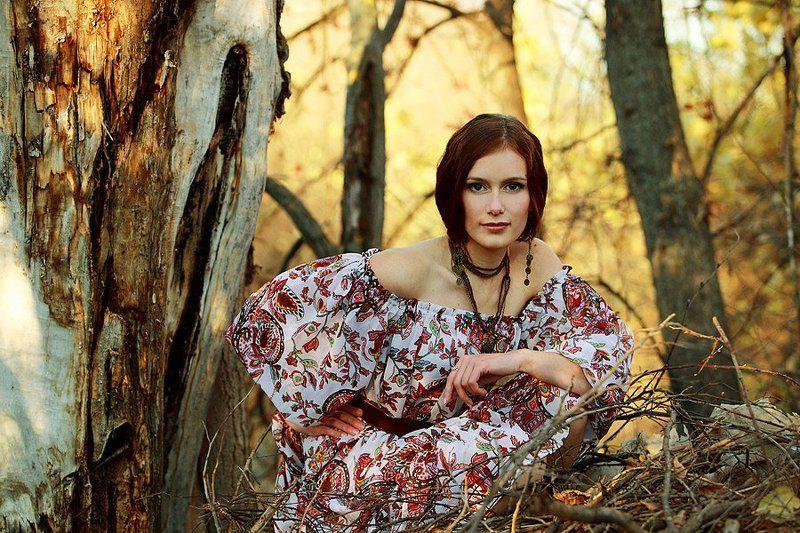девушка, деревья, ветки, , осень photo preview