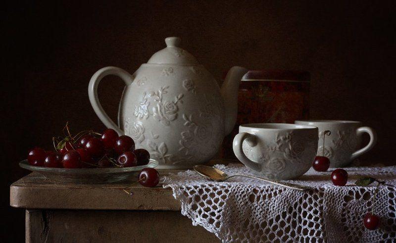 вишня, чай, салфетка Вишнёвый чай...photo preview
