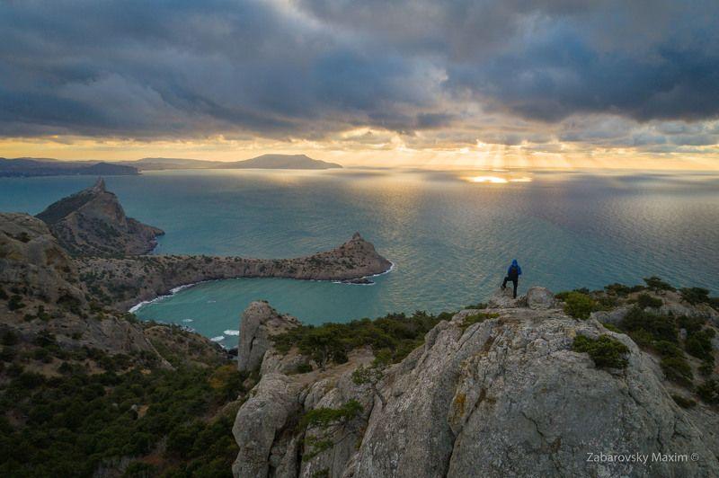 Крым, рассвет, Космос, Судак, Новый Свет, Караул-Оба, море, горы, aerial Пик Космосphoto preview