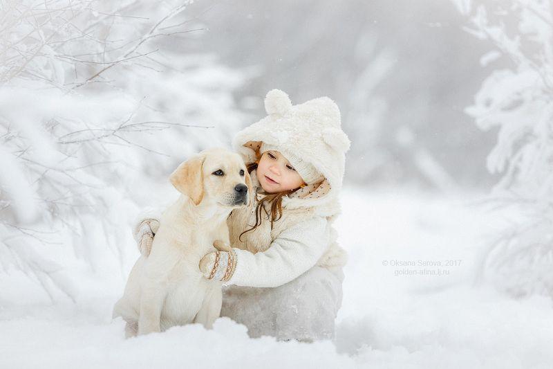 дети, семья, зима, туман, щенок, собака, снег, дружба, ребенок и собака,лучшие друзья, желтая собака, желтый, лабрадор, палевый, рыжий, ребенок, девочка, нежность, малыш Маленькие большие друзьяphoto preview