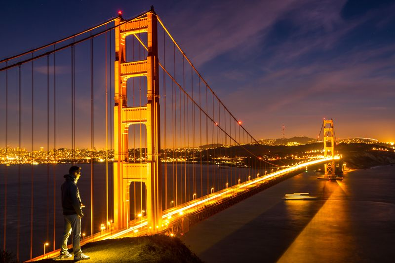 мост, сан франциско, калифорния, человек, закат, вечер,океан,залив Golden Gate bridgephoto preview
