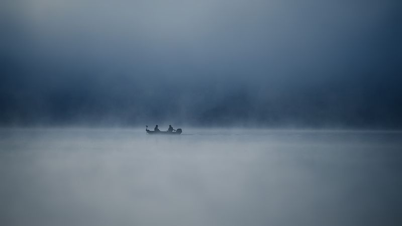 landscape, fishing, lake, morning, fog, nature, people Fishingphoto preview