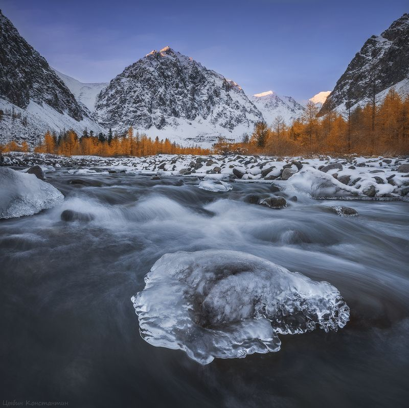 алтай, актру, актуру, караташ, горы, осень, река, снег, лед, mountain, altai, autumn, river Алтай. Долина Актуру.photo preview
